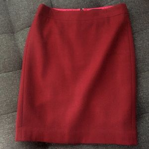 J Crew Factory Pencil Skirt Burgundy Size 0